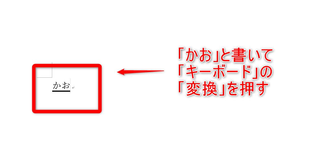 ワードでかおと入力して変換する説明の画像