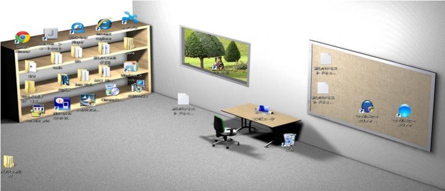 パソコンのデスクトップ画面を部屋に見立てて表現している画像