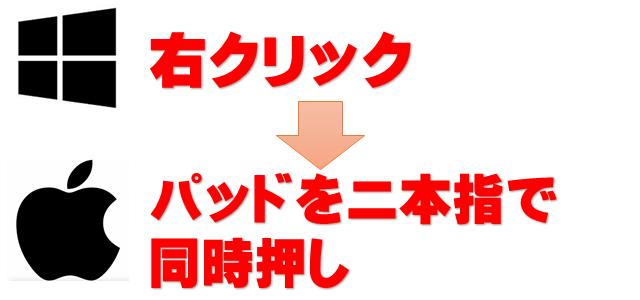 マックパソコンで右クリックはパッドを二本指で同時押しと示した画像