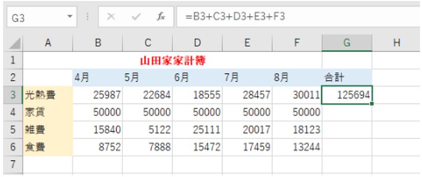 計算結果が表示されていることを示しているエクセルの画像