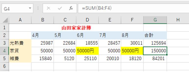 文字が含まれているセルは計算されないことを示しているエクセルの画像