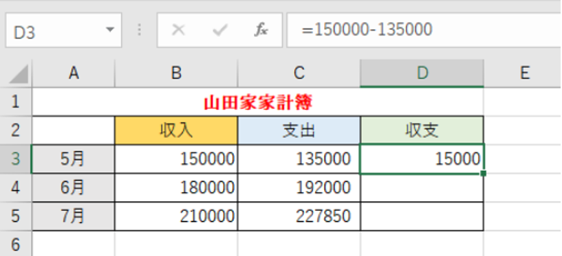 引き算の数式を入力していることを示しているエクセルの画像