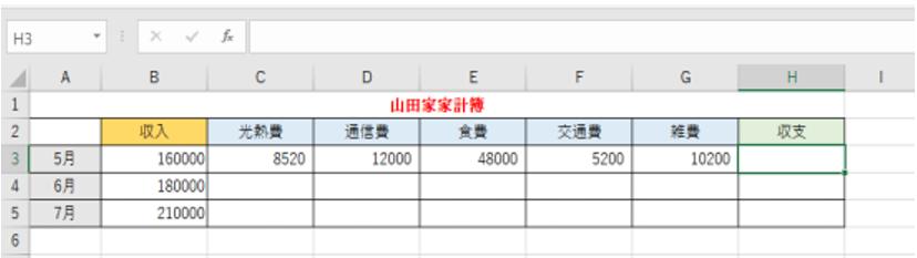 家計簿の表が表示されていることを示しているエクセルの画像