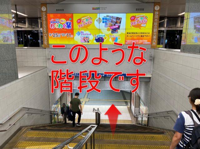 JR静岡駅の階段を下ります。静岡駅地下道に入ります
